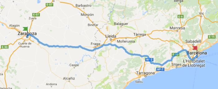 Ruta en Moto de Barcelona a Zaragoza